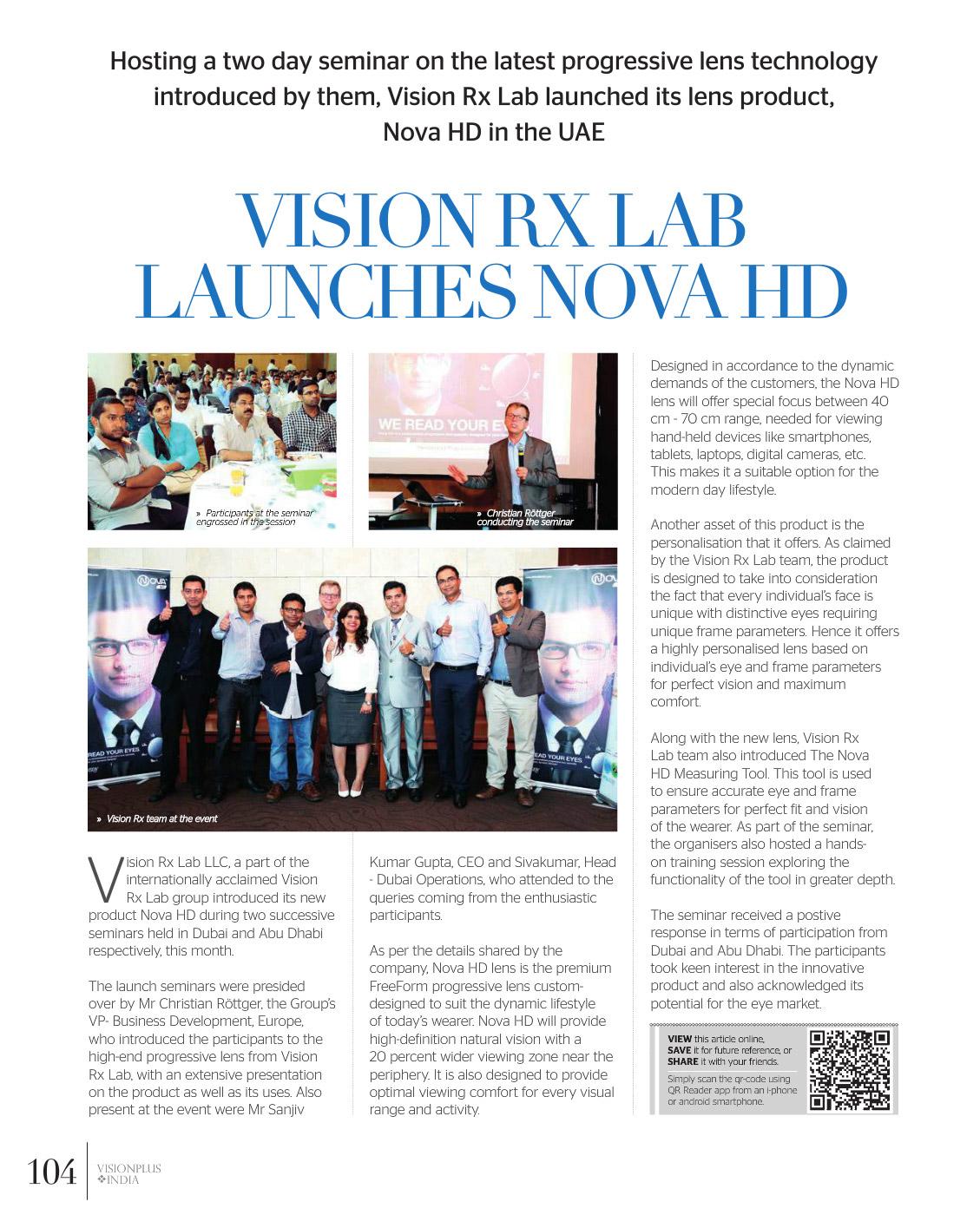 Vision Rx Lab Launches Nova HD